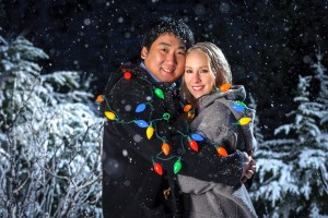 Alex and Patrice Snow Lights Engagement photo at Mount Baker