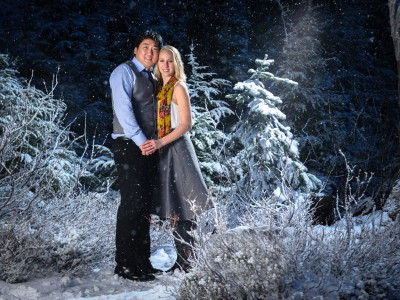 Winter wonderland engagement photo at night at Mount Baker