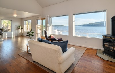 A beautiful view from a living room looking out over the bay in Anacortes