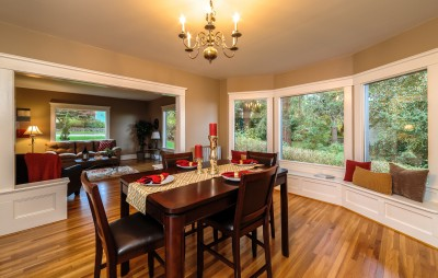 Dining room area in a home in Bellingham real estate photography