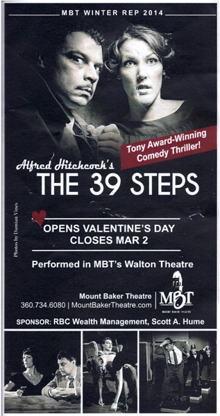 Playbill for The 39 Steps a Alfred Hitchcock play at the Mount Baker Theatre