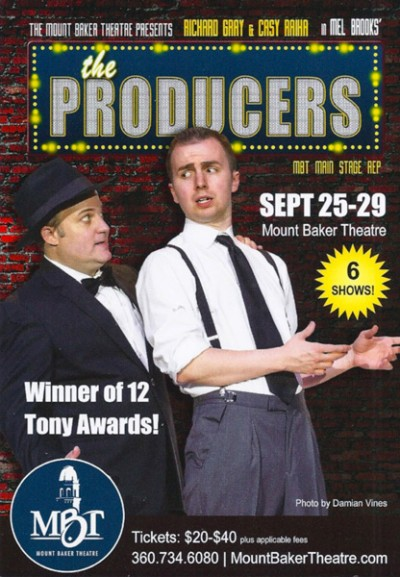 The advertising flyer for The Producers for Mount Baker Theatre