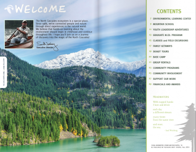 A magazine spread for the North Cascades Institute of Diablo Lake Pierce Mtn