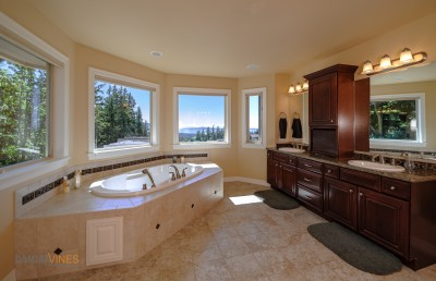Amazing interior bathroom with tub sunset