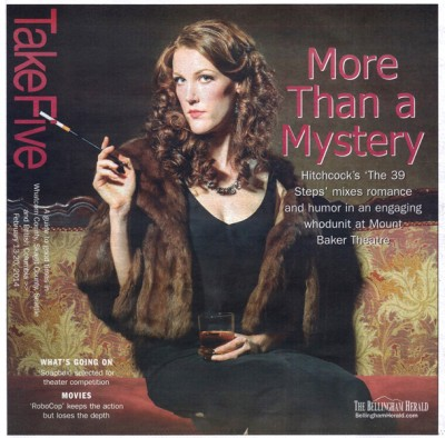 Cover of Take Five Magazine in Bellingham WA for the play The 39 Steps