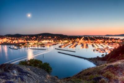 Anacortes WA Sunset Marina crescent moon