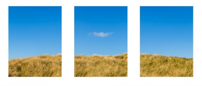 Beach Grass with blue sky Tryptic image Ocean Shores WA wispy cloud
