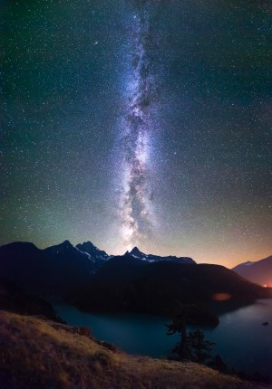 Milky Way Stars at night Diablo Lake vertical panorama