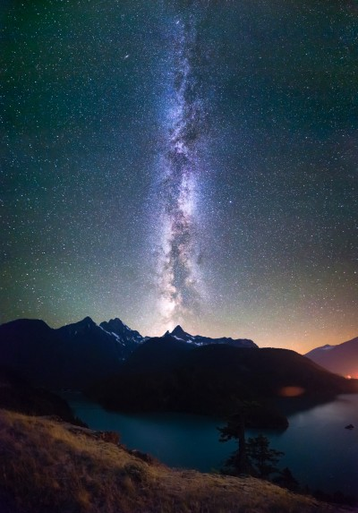 Milky Way Stars at night Diablo Lake vertical panorama