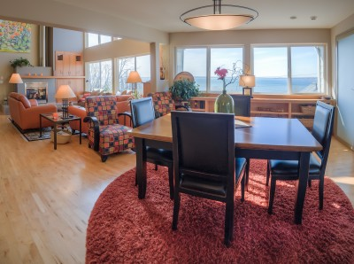 Room with a view of the water and bay Bellingham WA real estate living room