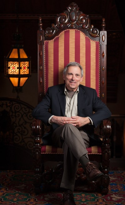 Portrait of a man in huge old ornate chair Mount Baker Theatre