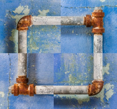 Pipe Dream abstract Art composite photo blue rusty water pipes