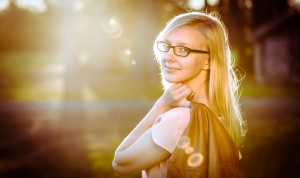 backlit portrait of a girl golden sunshine