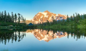 Mt Shuksan Picture Lake Reflection in water Mount Baker