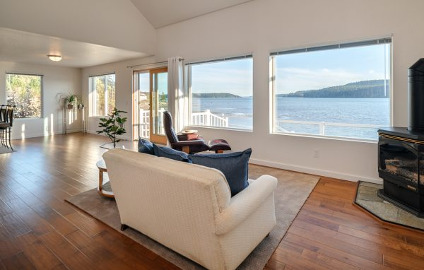 View out window to bay in Anacortes real estate photo
