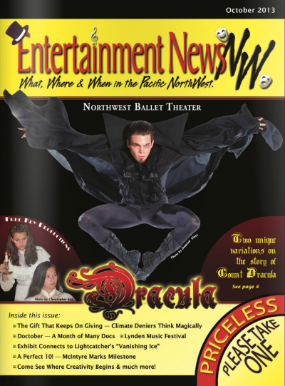 Male ballet dancer dressed like Dracula jumping in the air
