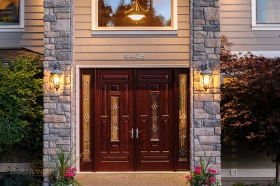 Entry way into a large home double doors