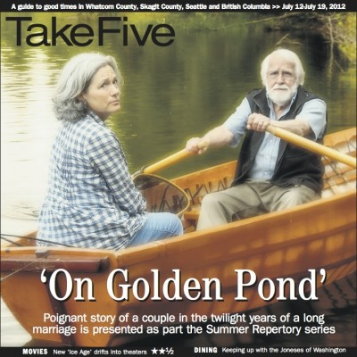 Magazine cover older couple in a row boat on golden pond