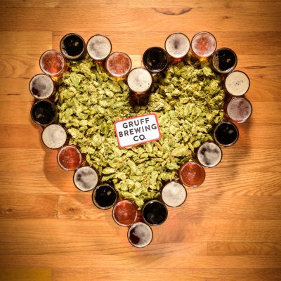 Beer glasses arranged in a heart shape for Valentines Day Gruff Brewing