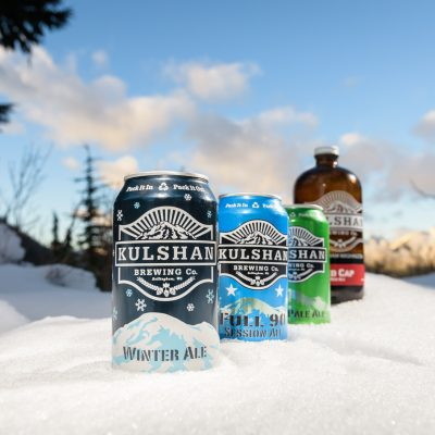 Kulshan beer cans in the snow