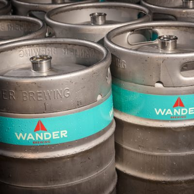 beer kegs stacked up wander brewing