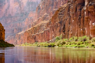 Backlit grand canyon cliffs photo from colorado river
