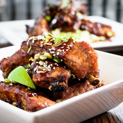 a bowl of ginger lime ribs with unagi sauce