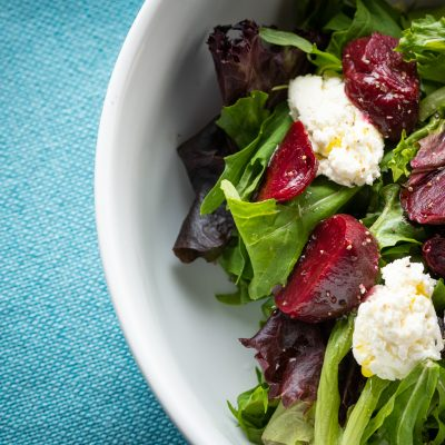 a beet and goat cheese salad